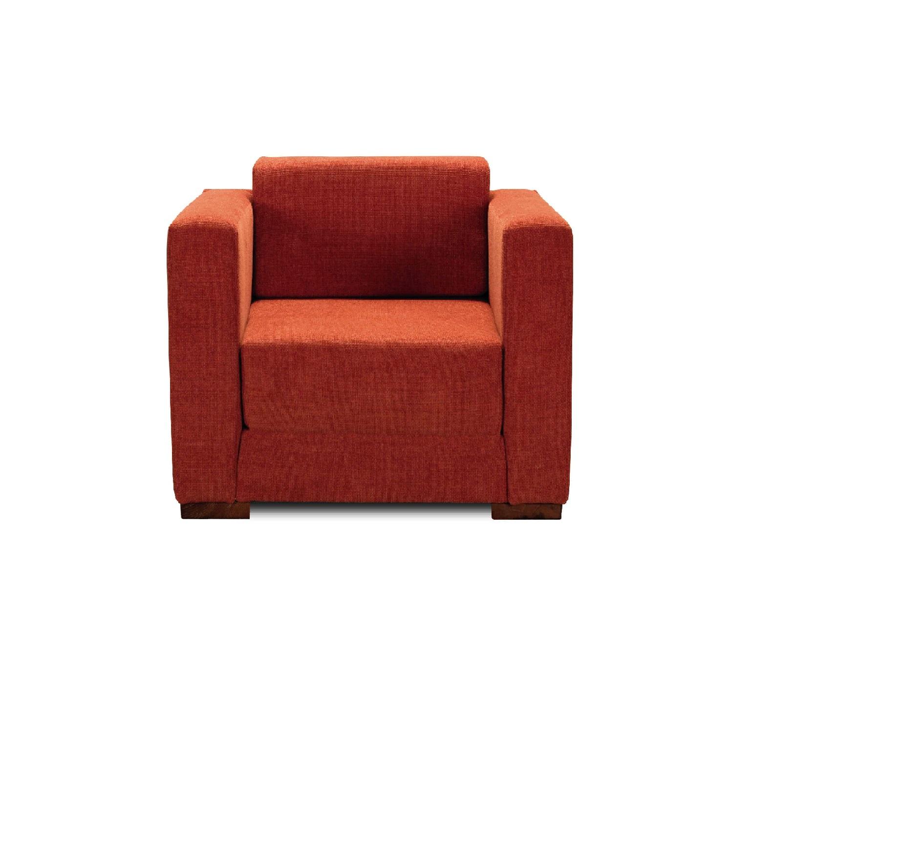 oranžový rozkladací gauč vhodný na príležitostné spanie Dora