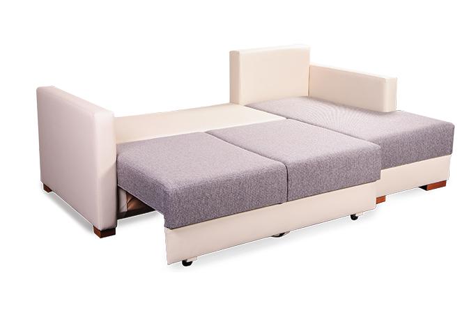 bielo-sivá rohová sedačka s úložným priestorom Zora