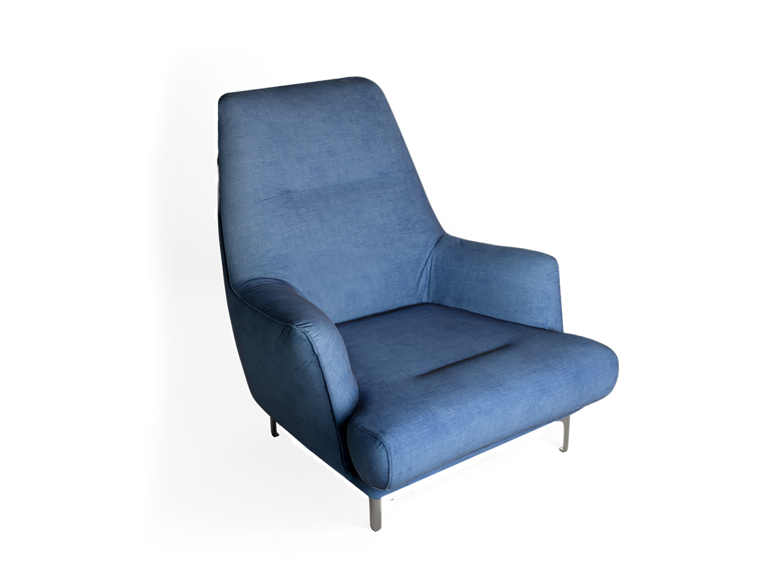 modré dizajnové nadčasové kreslo NOE