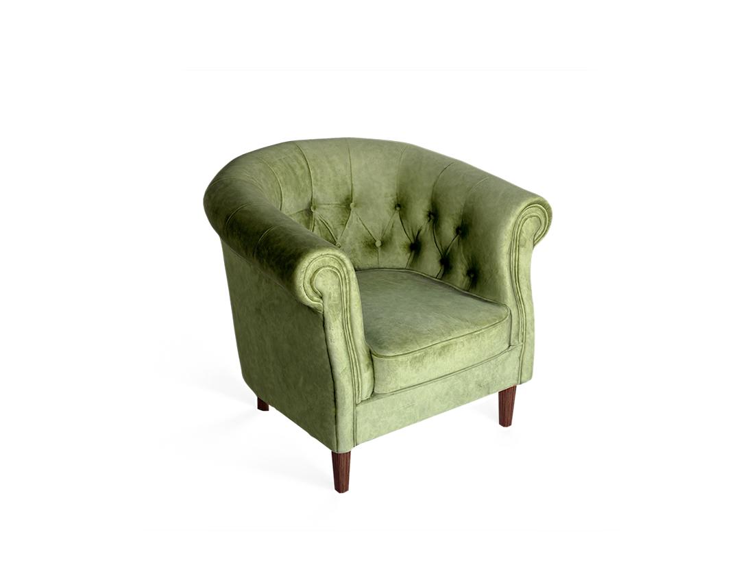 zelený Oxford štýlové kresielko zútulní každú domácnosť