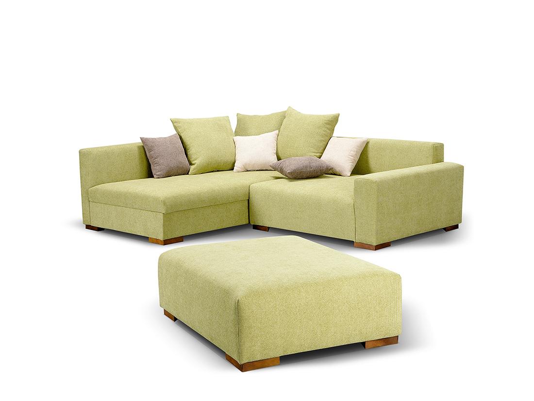 Moderná zelená rohová sedacia súprava s úložným priestorom - Barbora