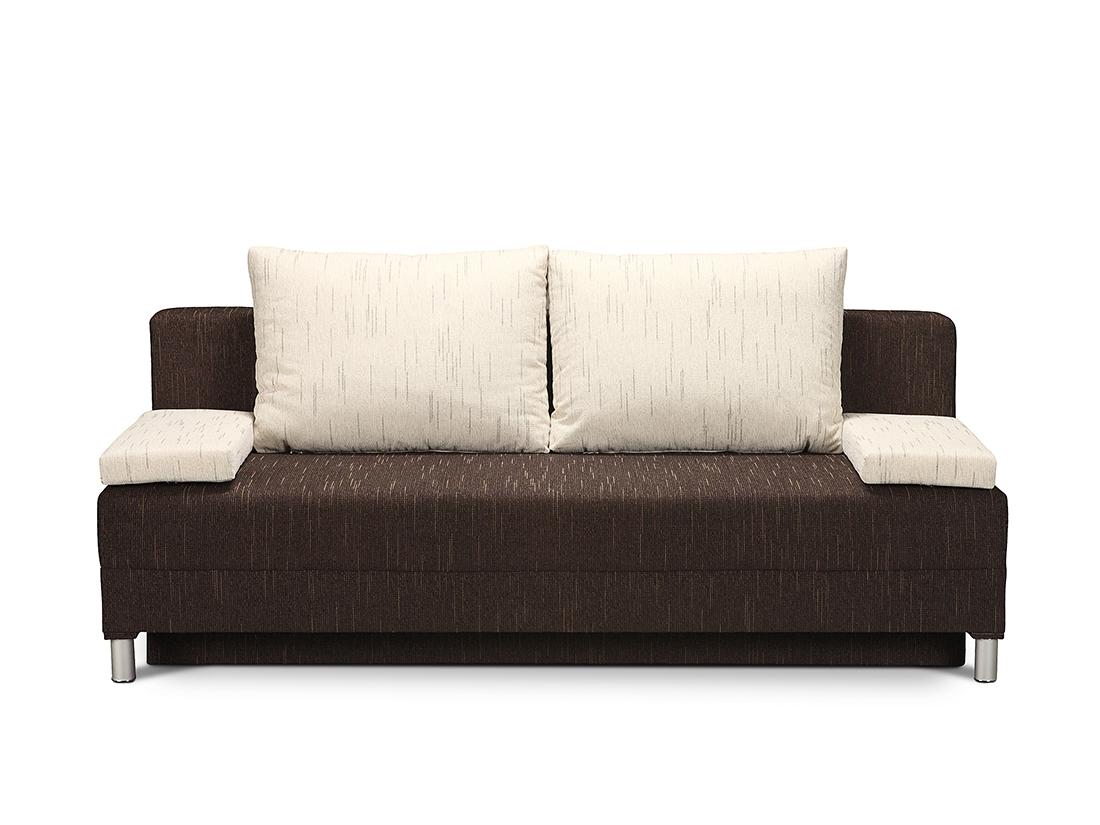 hnedo-biela rozkladací gauč s úložným priestorom Berta