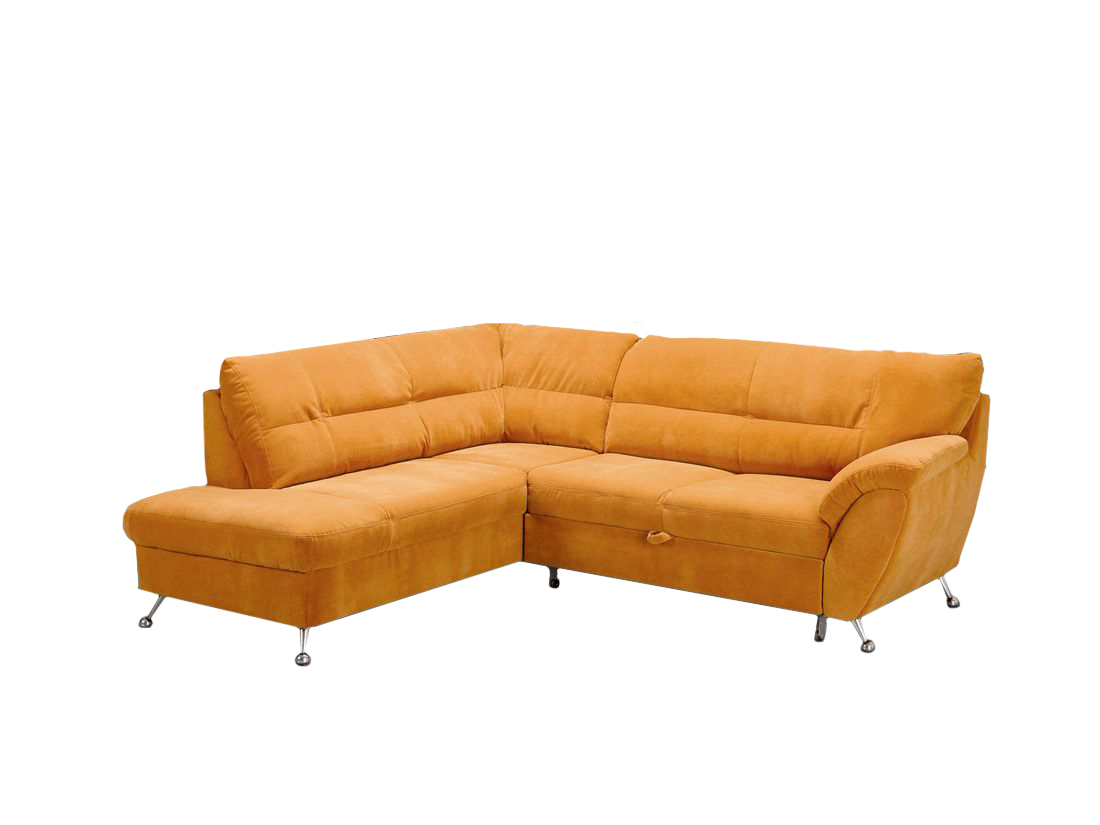 oranžová klasická rohová sedacia súprava s vyšším sedom Diana